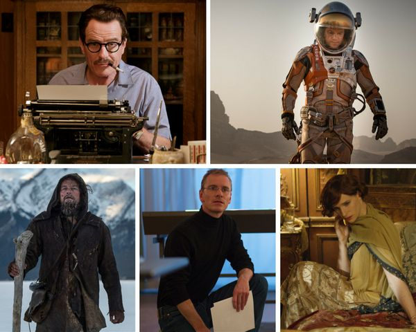 "<strong>Nominees:</strong> Bryan Cranston, ""Trumbo"" / Matt Damon, ""The Martian"" / Leonardo DiCaprio, ""The Revenant"" / Michael"