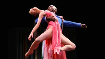 NEW YORK, NY - MARCH 13:  Lloyd Knight and Xiaochuan Xie perform on stage during the Martha Graham Dance Company 'Every Soul Is A Circus' dress rehearsal at the Joyce Theater on March 13, 2012 in New York City.  (Photo by Neilson Barnard/Getty Images)