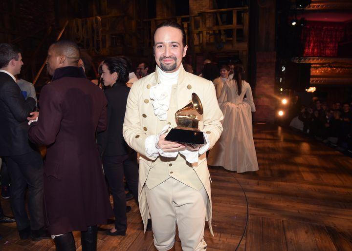 "Lin-Manuel Miranda, Dejesus' subject, celebrating ""Hamilton's"" Grammy award win."