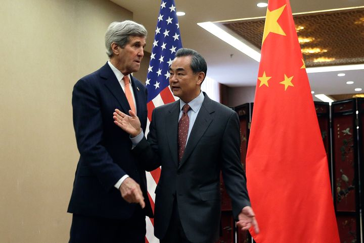 U.S. Secretary of State John Kerry and Chinese Foreign Minister Wang Yi meet in Beijing, China. The U.S. and C