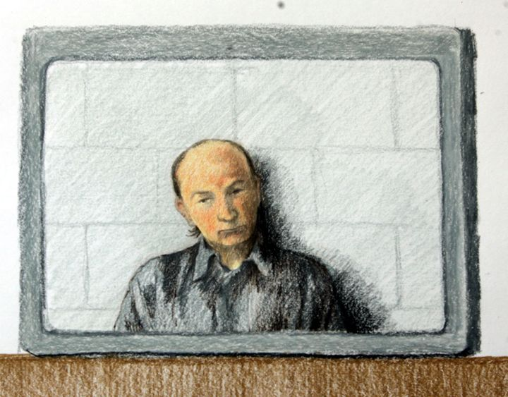 Robert William Pickton appears on a video link to British Columbia Supreme Court in this courtroom artist's drawing in New We