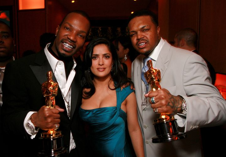 Juicy J, Salma Hayek and DJ Paul at the Vanity Fair party in 2006 hosted by Graydon Carter at Morton's in Beverly Hills, Cali