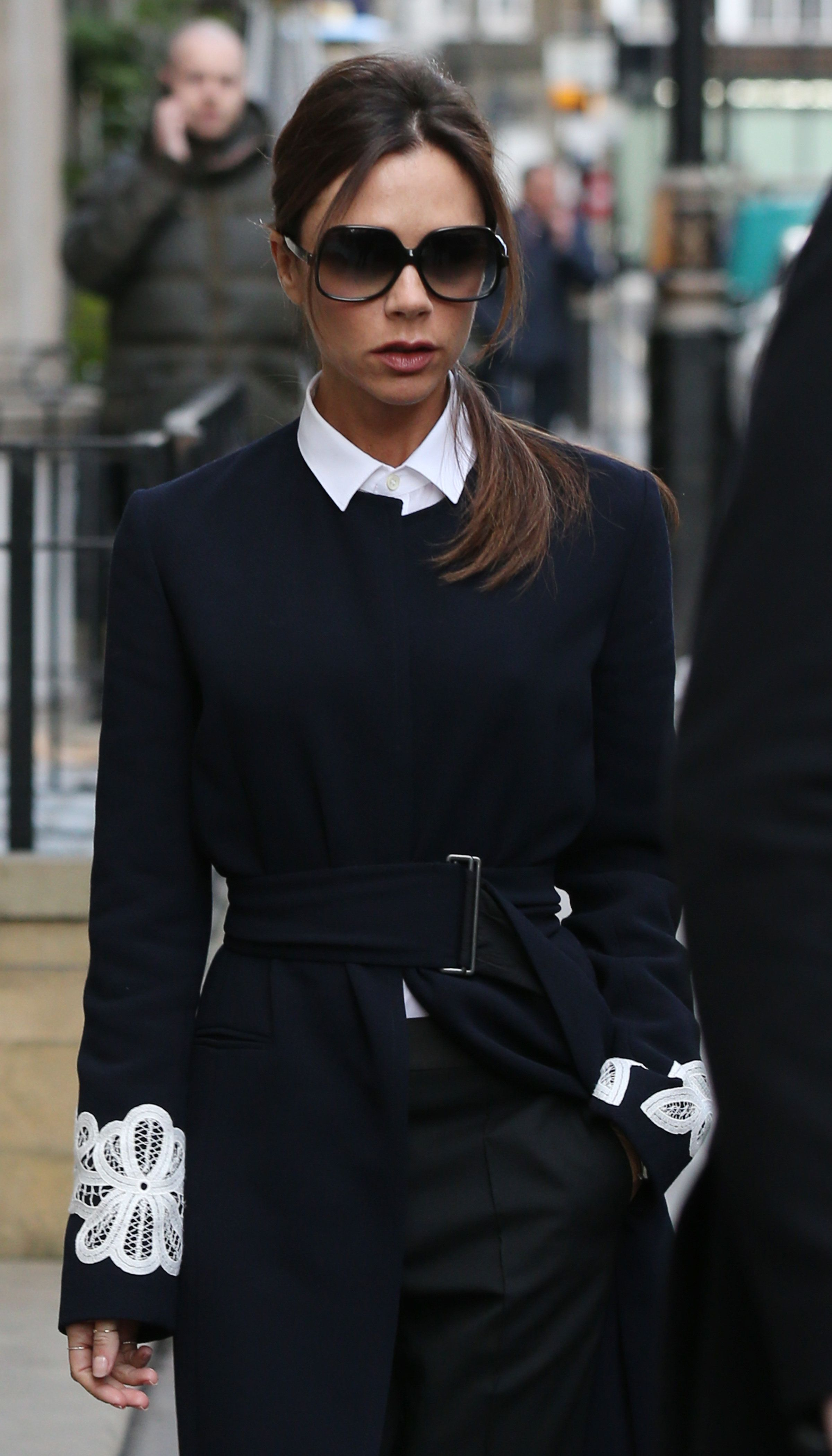 LONDON, ENGLAND - FEBRUARY 23:  Victoria Beckham seen leaving her store on Dover St on February 23, 2016 in London, England.  (Photo by Neil Mockford/Alex Huckle/GC Images)