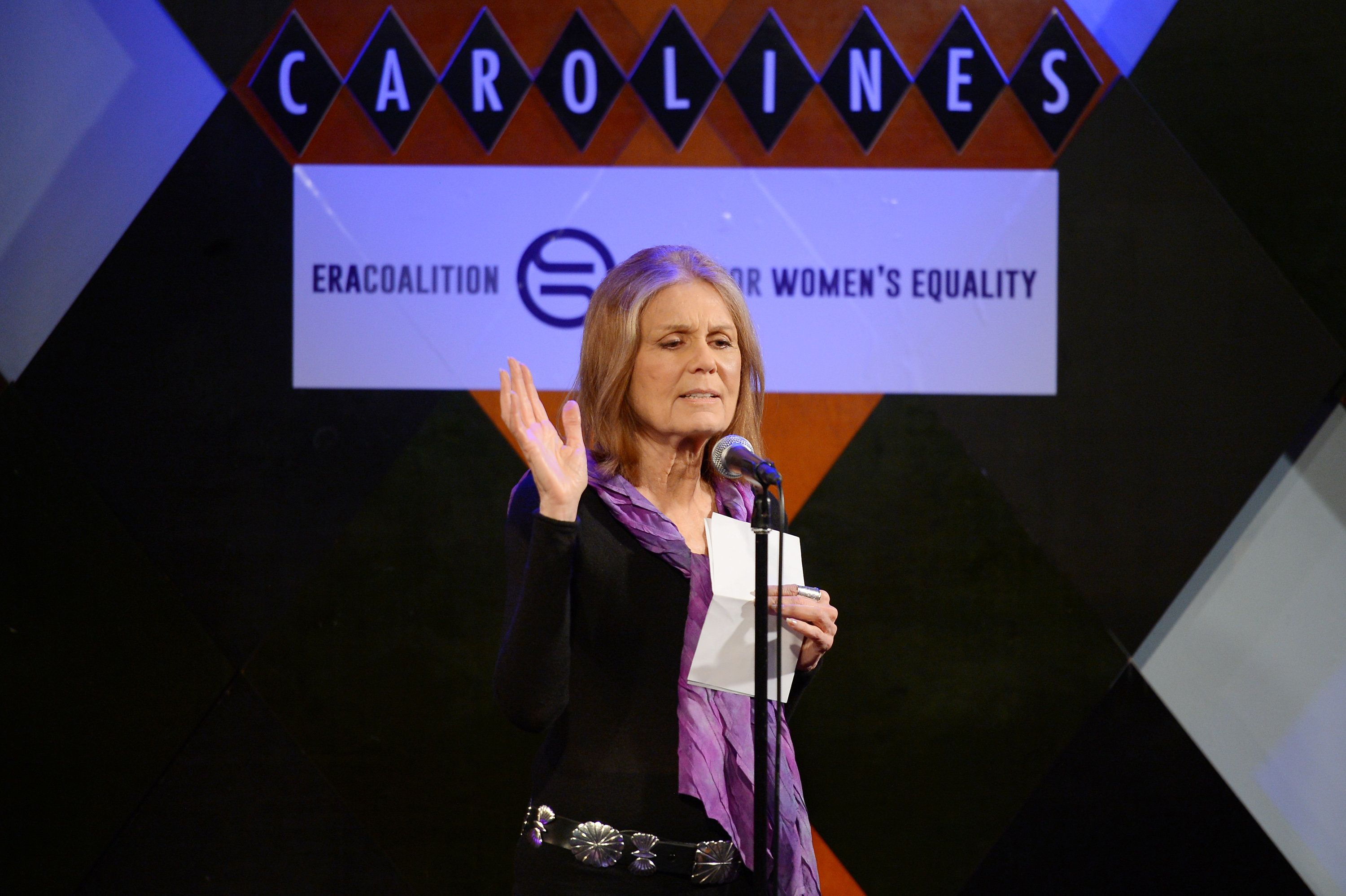 Gloria Steinem speaking at a fundraiser for the Fund for Women's Equality and the ERA Coalition on Feb. 7, 2016 in New York C