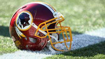 FOXBORO, MA - NOVEMBER 08:  A Washington Redskins helmet before the game against the New England Patriots at Gillette Stadium on November 8, 2015 in Foxboro, Massachusetts.  (Photo by Maddie Meyer/Getty Images)