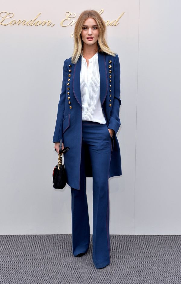 <strong>Rosie Huntington-Whiteley in Burberry:</strong> The rich blue hue of her jacket and pants really pops against he