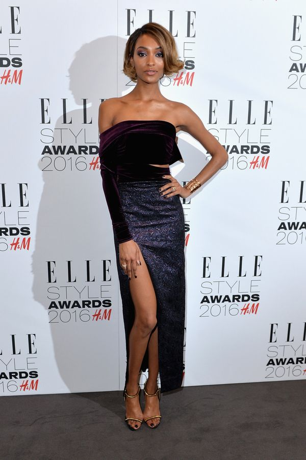 <strong>Jourdan Dunn:</strong> Purple and gold might be our new favorite color combination. This off-the-shoulder velvet