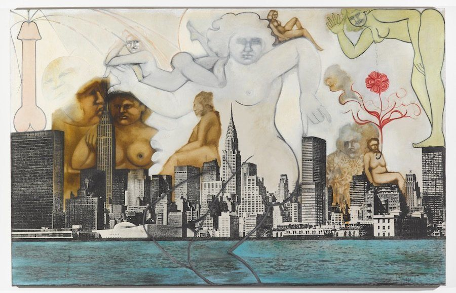 Anita Steckel New York Landscape 6 (Black Cock Canon)c.1970-1972 Silkscreen and oil paint on canvas 63.25 x 99 x 2 inches