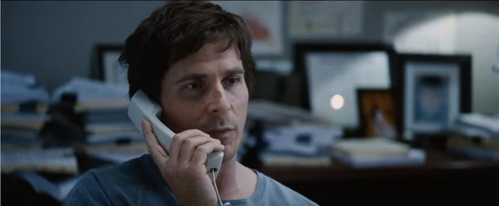"Christian Bale as Dr. Michael Burry in ""The Big Short."""
