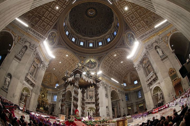 A general view of the atmosphere as Pope Francis celebrates Ash Wednesday Mass at St. Peter's Basilica on February 10, 2016 i