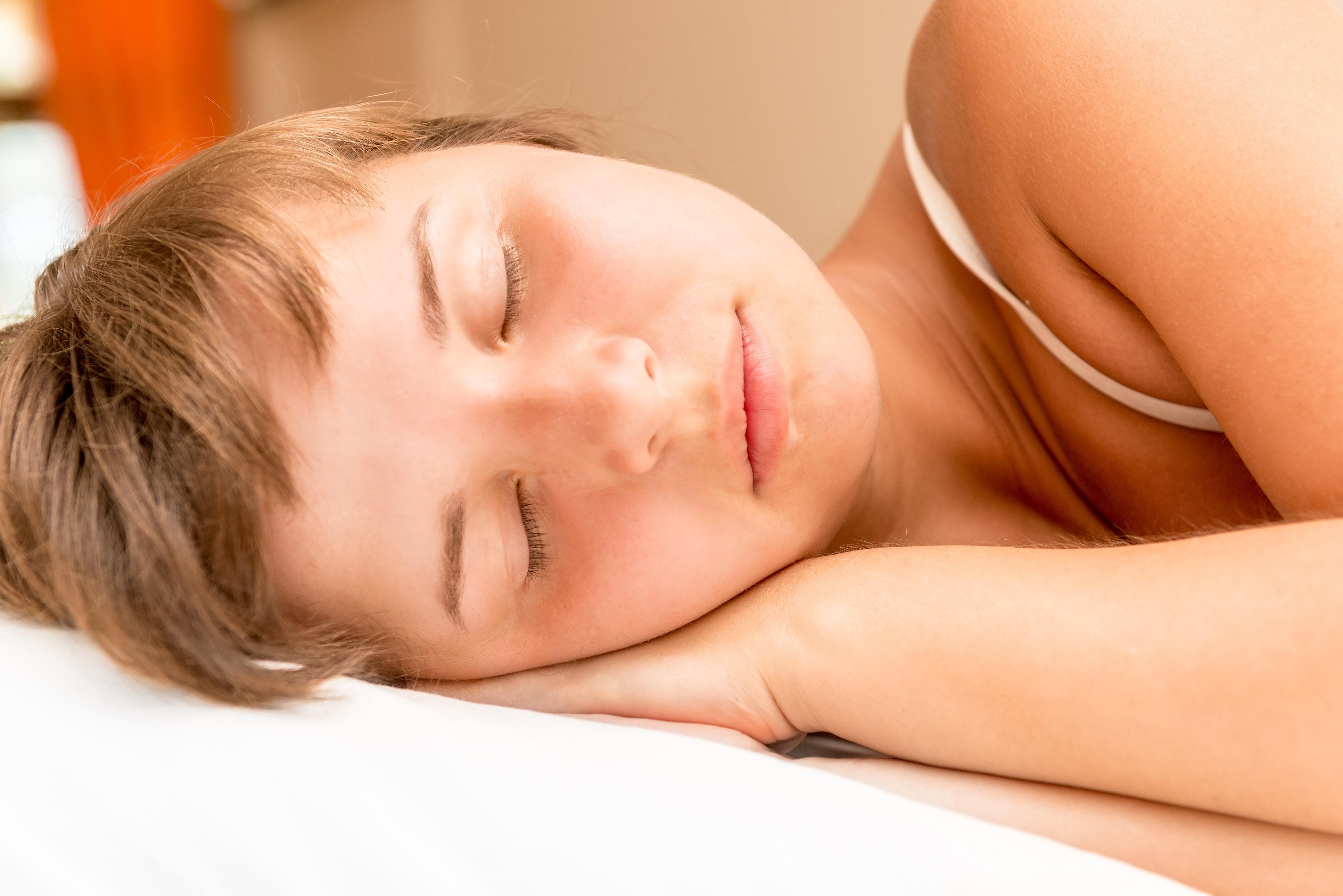 face of a beautiful sleeping girl close-up