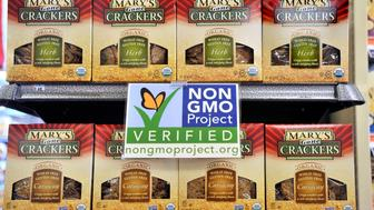 On Wednesday, July 24, 2013 Whole Foods has clearly marked many of their shelves with labels promoting the non-GMO products as well as gluten free, organic and locally grown products  (Photo by Gordon Chibroski/Portland Press Herald via Getty Images)