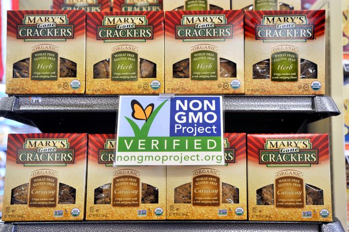 GMO-free products on the shelves of a Whole Foods store. The bill currently being considered by Congress would allow for this sort of voluntary labeling, but not mandatory labeling.