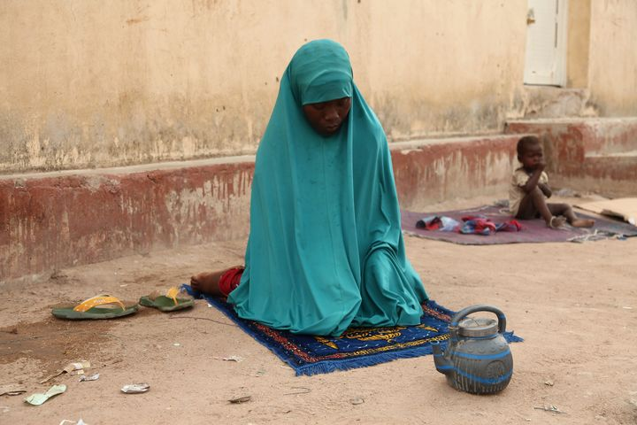 A woman rescued by Nigerian soldiers from Islamist militants Boko Haram.