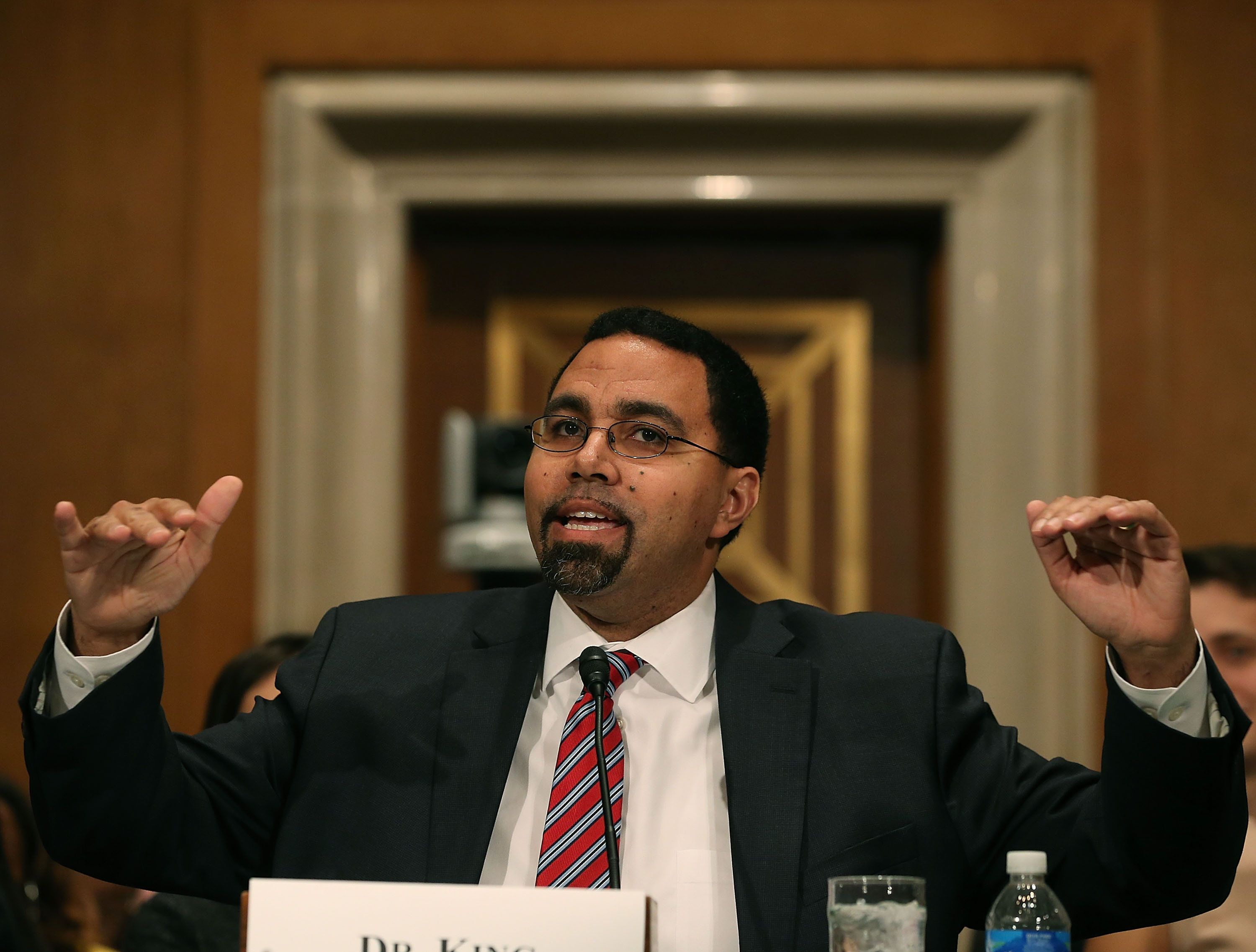 Dr. John King speaks during his Senate confirmation hearing to become Education secretary on Feb. 25.