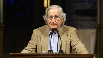 NEW YORK - JUNE 12:  US linguist and political activist Noam Chomsky discusses the global economic crisis, U.S. military intervention in the Middle East and South Asia and the election of Barack Obama in a lecture called 'Crisis & Hope: Theirs and Ours' at Riverside Church on June 12, 2009 in New York City.  (Photo by Neilson Barnard/Getty Images)
