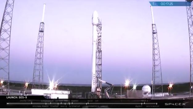 SpaceX rocket positioned to launch on Thursday night. The launch was later scrubbed.