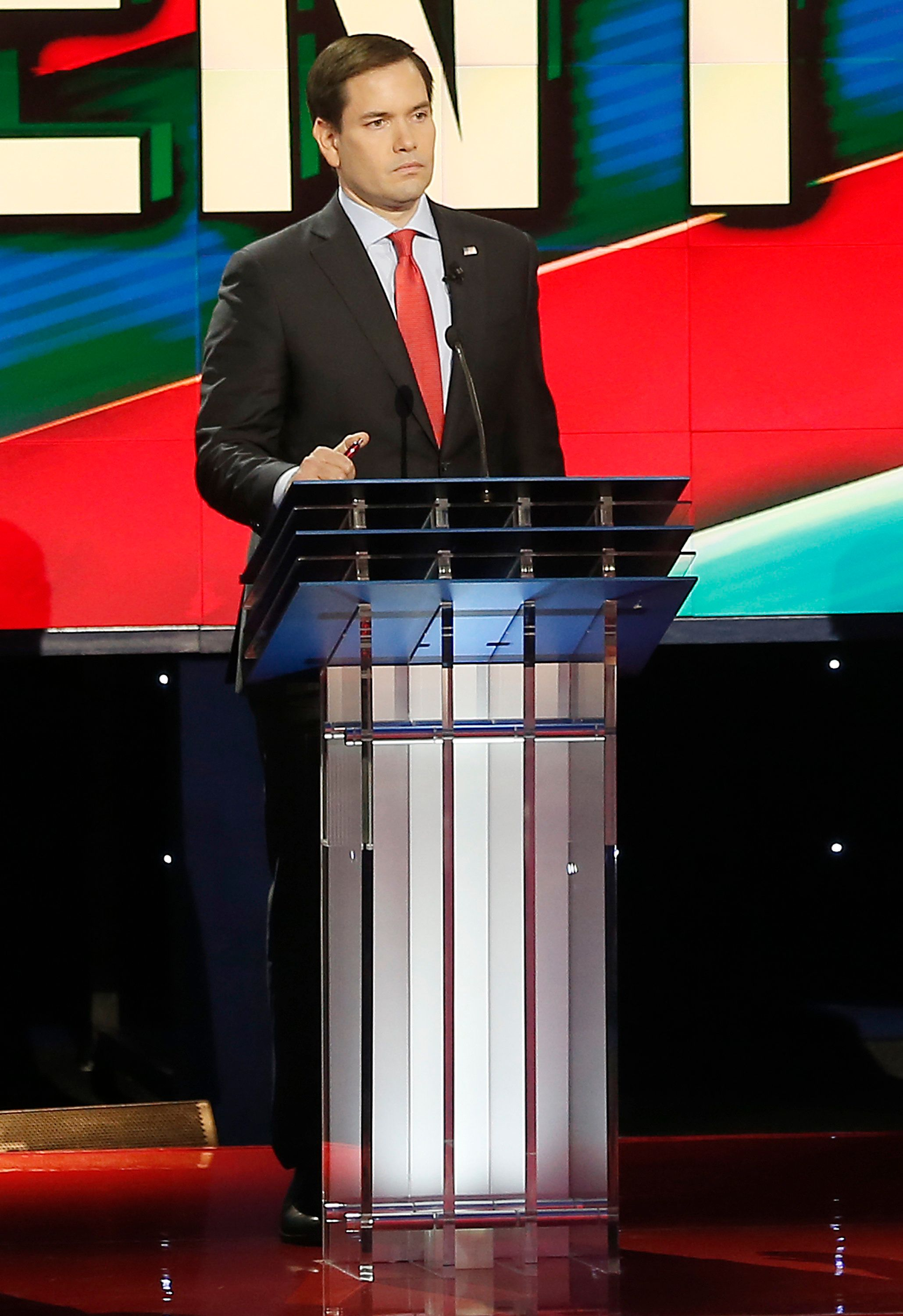 US Republican Presidential Candidate Marco Rubio participates in the Republican Presidential Debate at the University of Houston in Houston, Texas on February 25, 2016. / AFP / Thomas B. Shea        (Photo credit should read THOMAS B. SHEA/AFP/Getty Images)