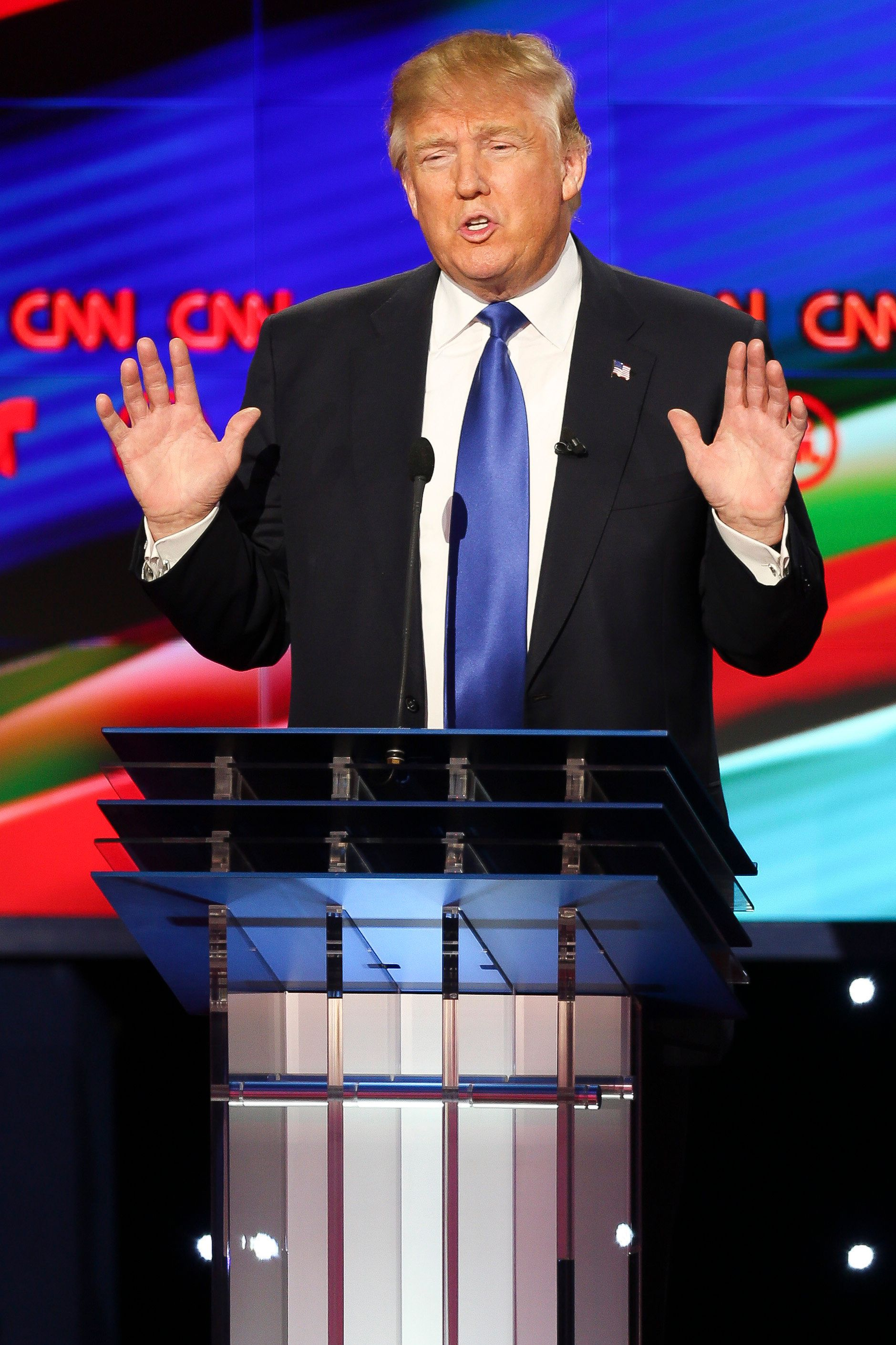 HOUSTON, TX - FEBRUARY 25:  Donald Trump speaks during the Republican presidential debate at the Moores School of Music at the University of Houston on February 25, 2016 in Houston, Texas. The debate is the last before the March 1 Super Tuesday primaries.  (Photo by Michael Ciaglo-Pool/Getty Images )