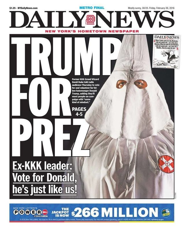 New York Daily News: New York Daily News Front Page Hypes Donald Trump's KKK