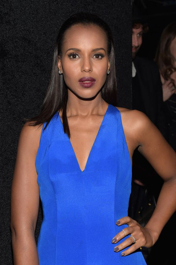 "The ""Scandal"" actress never lets us down in the style department. Her slicked-back hair and dark lip color are very seve"