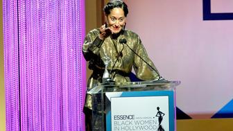 BEVERLY HILLS, CA - FEBRUARY 25:  Tracee Ellis Ross speaks onstage during the 2016 ESSENCE Black Women In Hollywood awards luncheon at the Beverly Wilshire Four Seasons Hotel on February 25, 2016 in Beverly Hills, California.  (Photo by Earl Gibson III/Getty Images for ESSENCE)