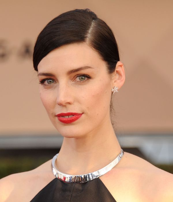 "Makeup artist Kirin Bhatty for Maybelline New York created a bold, red matte lip for ""Mad Men"" actress Jessica Paré at"