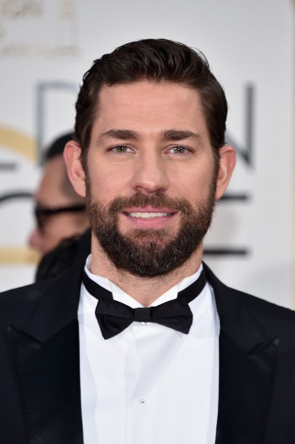 Groomer Jenn Streicher was the woman behind John Krasinski's skin and hair at the 73rd Annual Golden Globe Awa
