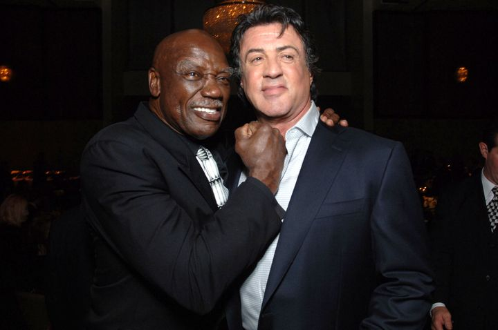 "Tony Burton and Sylvester Stallone during ""Rocky Balboa"" World Premiere at Grauman's Chinese Theatre in Hollywood."