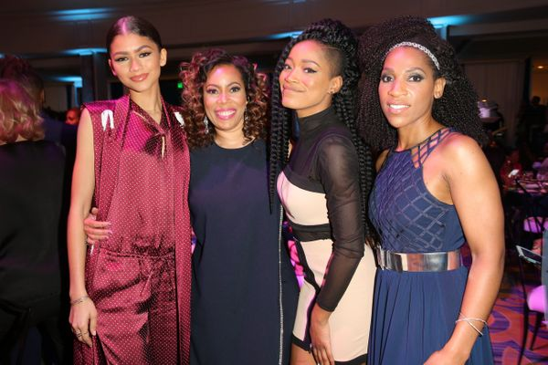 (L-R) Singer Zendaya, guest, actress Keke Palmer, and Multicultural Communications Manager at Lincoln Motor Company Raj Regis