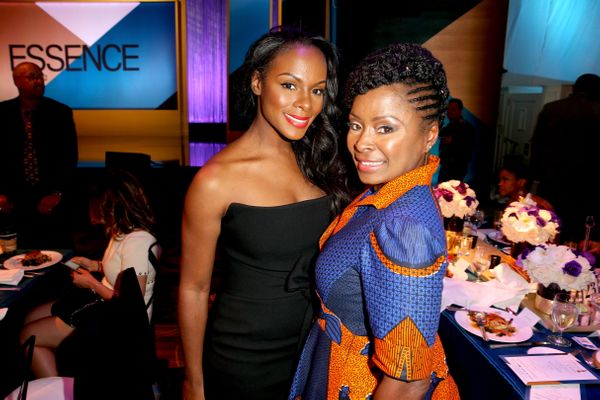 Actress Tika Sumpter (L) and guest.