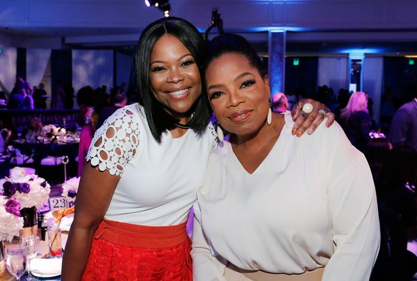 Actress Angela Robinson (L) and Oprah Winfrey.