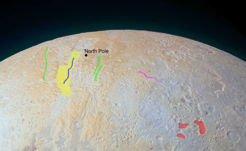 An annotated version of the image points out special features in Pluto's north pole region.