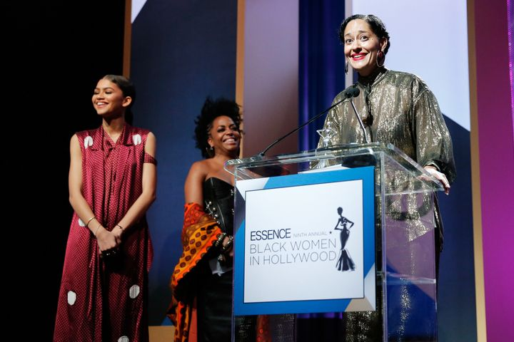 Actors Zendaya, Rhonda Ross Kendrick and Tracee Ellis Ross speak at the 2016 Essence Black Women in Hollywood event.
