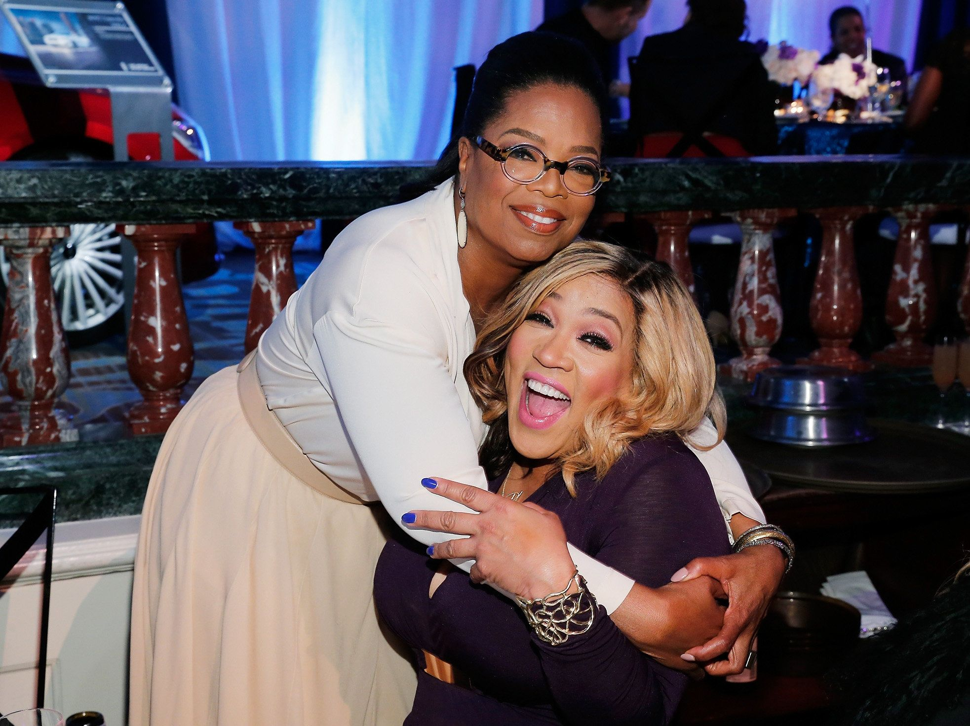 BEVERLY HILLS, CA - FEBRUARY 25:  Oprah Winfrey (L) and actress Kym Whitley attend the 2016 ESSENCE Black Women In Hollywood awards luncheon at the Beverly Wilshire Four Seasons Hotel on February 25, 2016 in Beverly Hills, California.  (Photo by Rich Polk/Getty Images for ESSENCE)