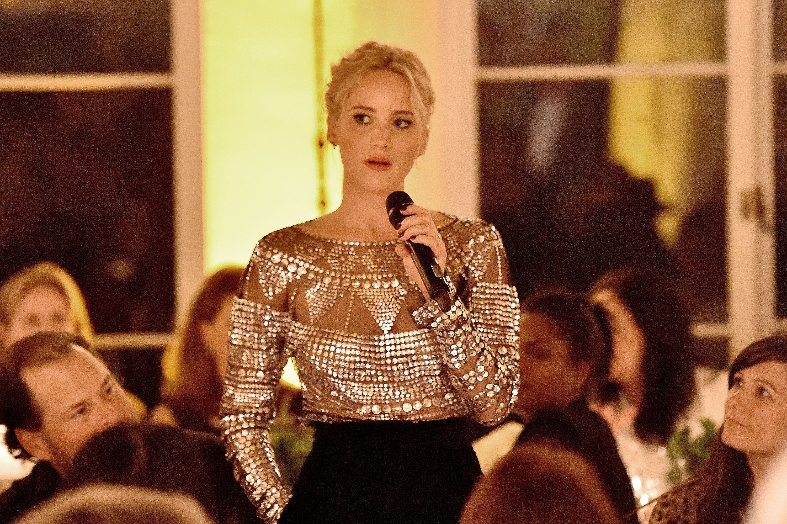 BEVERLY HILLS, CA - FEBRUARY 25:  Actress Jennifer Lawrence attends The Dinner For Equality co-hosted by Patricia Arquette and Marc Benioff on February 25, 2016 in Beverly Hills, California.  (Photo by Mike Windle/Getty Images for Weinstein Carnegie Philanthropic Group)