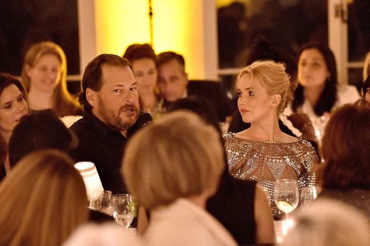 Jennifer Lawrence looks at co-host Marc Benioff during The Dinner for Equality in Beverly Hills on Thursday ni
