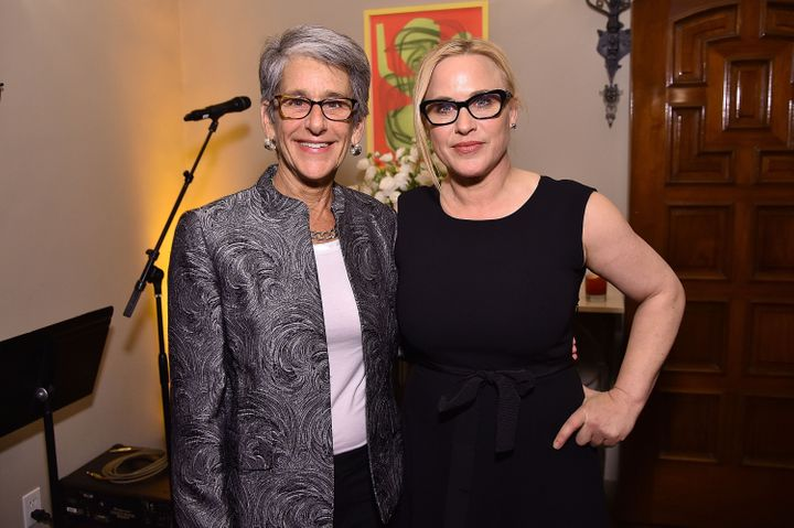 California state Sen. Hannah-Beth Jackson and co-host Patricia Arquette pose at The Dinner for Equality.