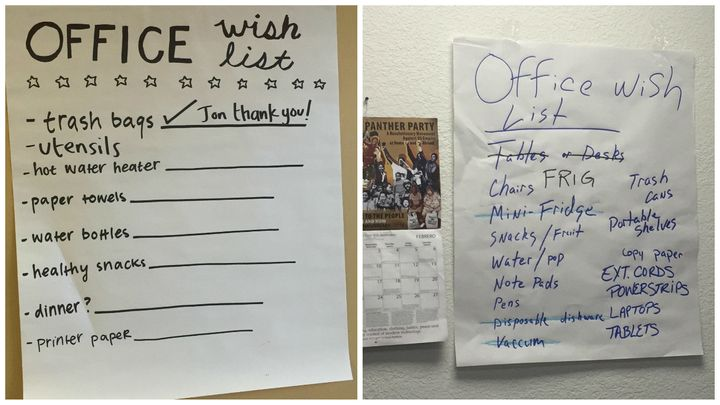 Examples of office wish lists in Hillary Clinton's field office in Overland Park, Kansas (left), and Bernie Sanders' field of