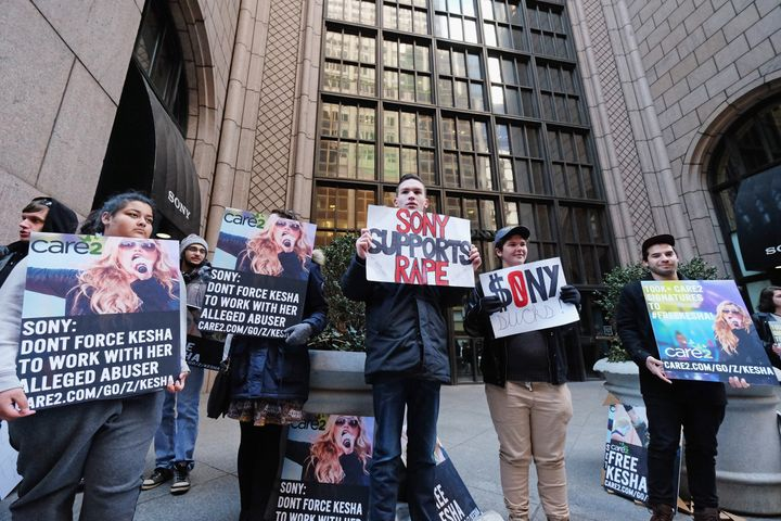 Kesha Fans protest in front of Sony headquarters at Sony Music on February 26.