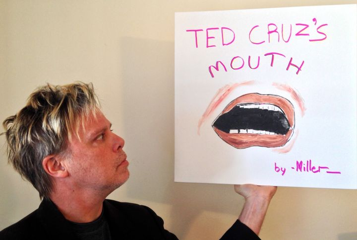 Tom Miller is staring at Ted Cruz's mouth for two hours as an art project.