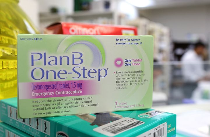 A package of Plan B on display at a pharmacy.