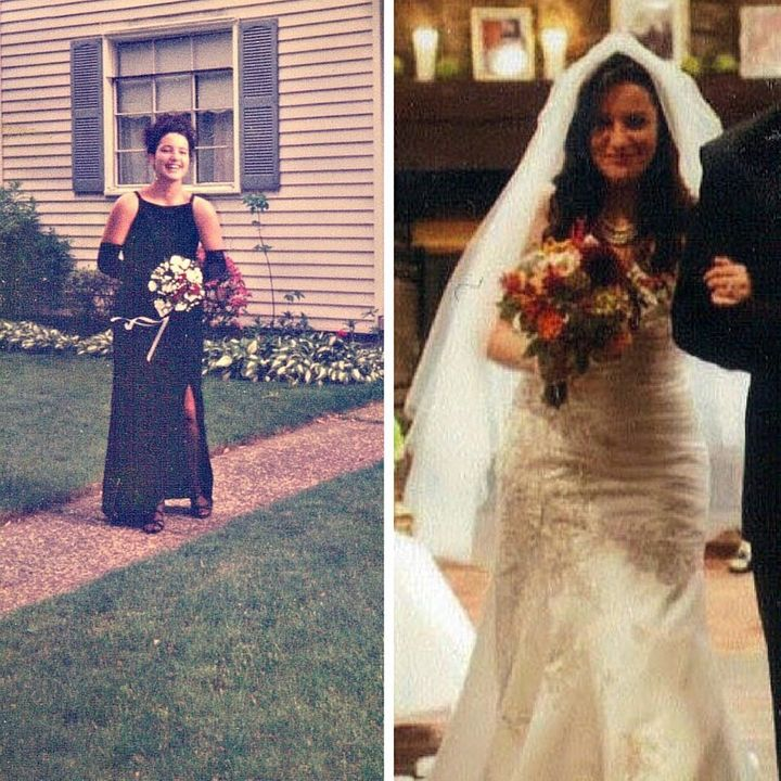 The author before her prom and on her wedding day.