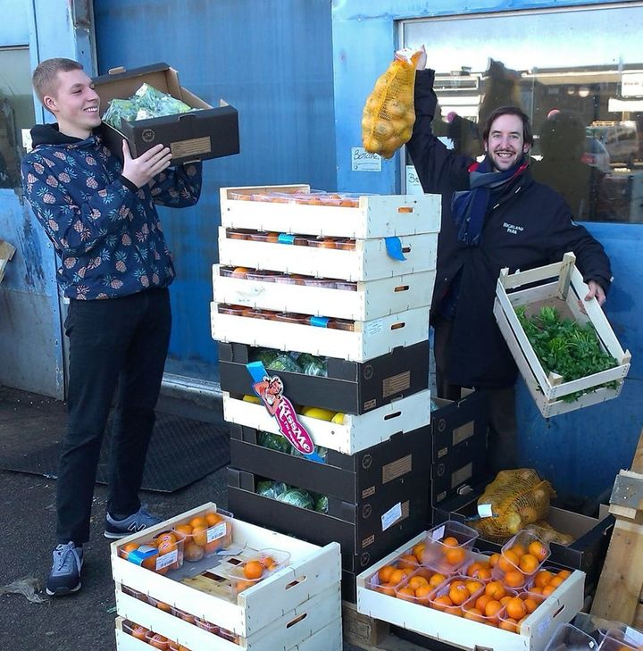 WeFood, a new supermarket in Copenhagen, Denmark, sells products that other stores threw out or rejected. Here, volunteers collect food for the store.