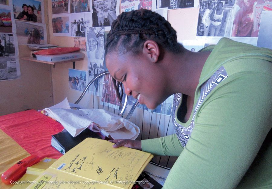 A year after the brutal murder of Noxolo, Bontle Kahlo, an activist and member of EPOC, reads one of the hundreds of support