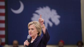 KINGSTREE, SC - FEBRUARY 25:  Democratic presidential candidate, former Secretary of State Hillary Clinton speaks to guests gathered for a town hall meeting at the Williamsburg County Recreation Center on February 25, 2016 in Kingstree, South Carolina. The South Carolina Democratic primary is scheduled to take place on February 27.  (Photo by Scott Olson/Getty Images)