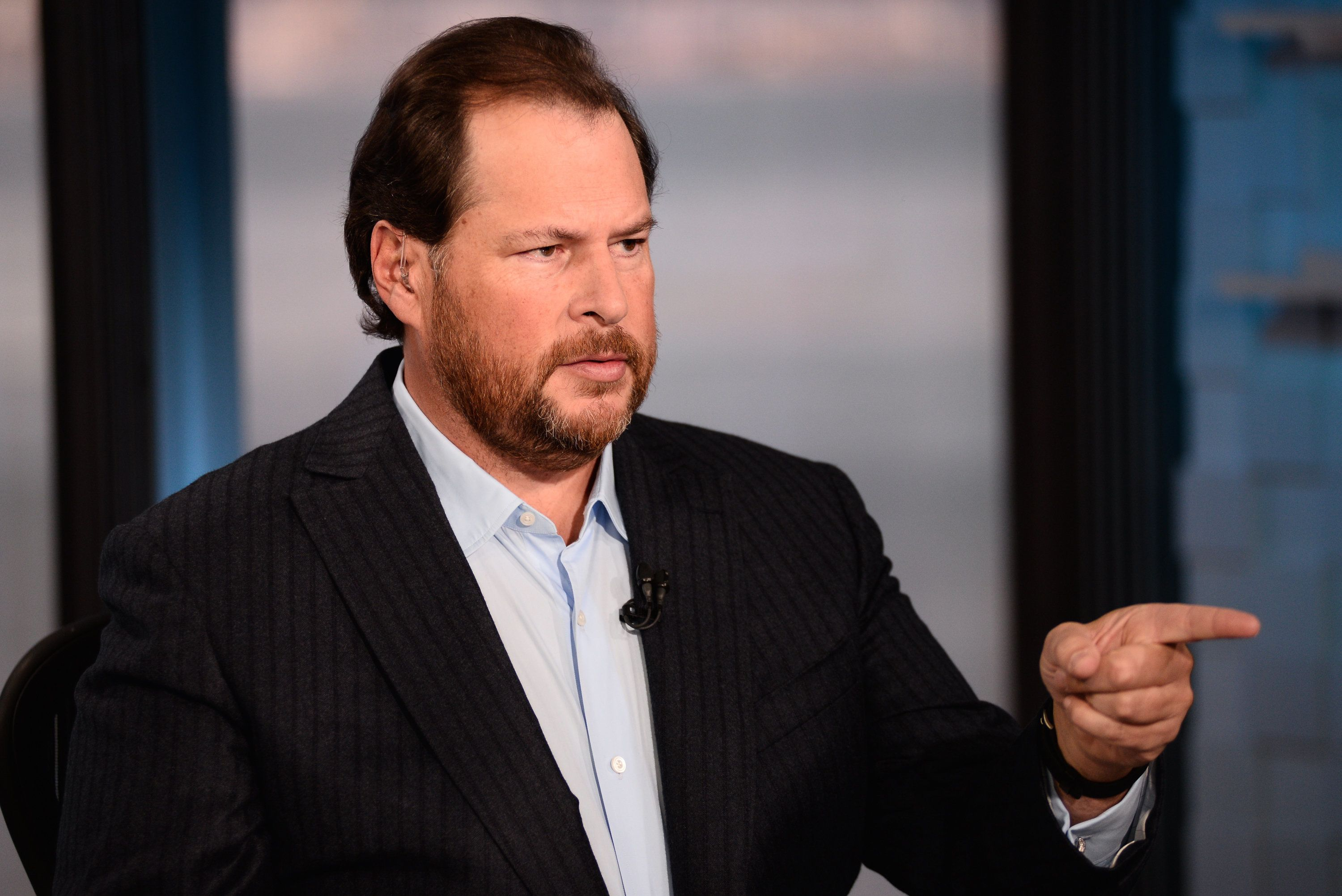 CNBC NEWS -- Pictured: Marc Benioff, chairman and CEO of Salesforce.com, in an interview in  San Francisco on November 19, 2015.  -- (Photo by: Mark Neuling/CNBC/NBCU Photo Bank via Getty Images)