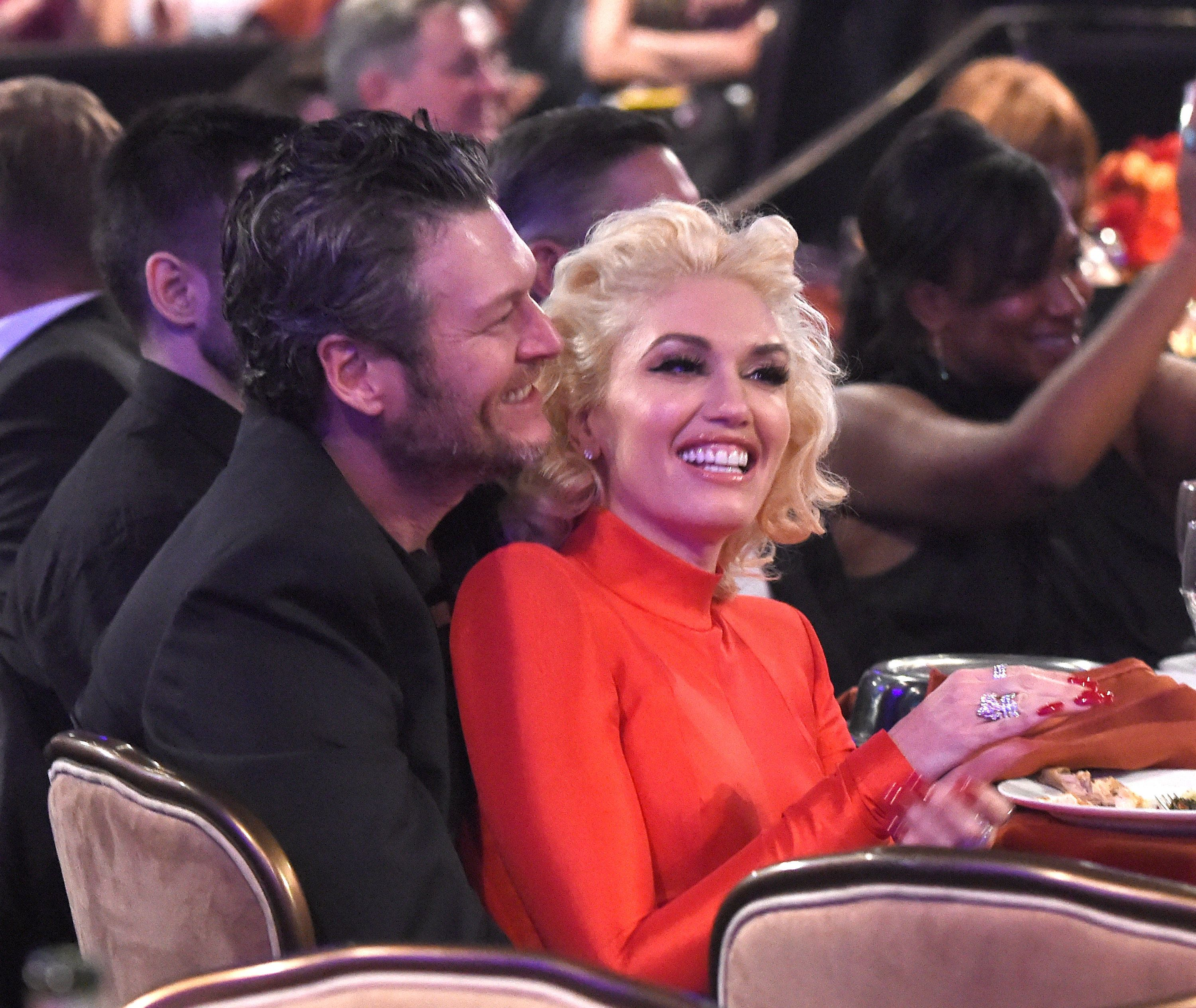 BEVERLY HILLS, CA - FEBRUARY 14:  Blake Shelton and Gwen Stefani attend the 2016 Pre-GRAMMY Gala and Salute to Industry Icons honoring Irving Azoff at The Beverly Hilton Hotel on February 14, 2016 in Beverly Hills, California.  (Photo by Kevin Mazur/WireImage)