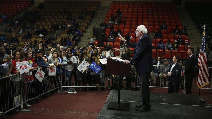 Sen. Bernie Sanders, an independent from Vermont and a 2016 Democratic presidential candidate, speaks during a campaign