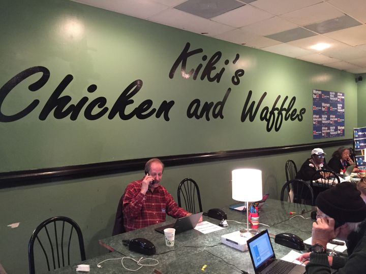 Jerry Emanuel calls potential Hillary Clinton supporters from a campaign office inside a former southern restaurant